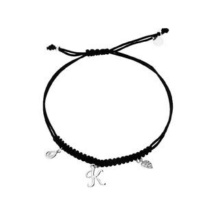 Bransoleta srebrna sznurkowa z wiszącym serce, łezką i literką K nr. PW 225-1 czarny próba 925