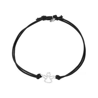 Bransoleta srebrna sznurkowa anioł ażur nr. PW 165 czarny próba 925