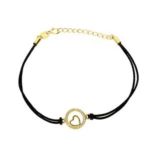 Bransoleta srebrna sznurkowa serce w kółku nr. PW 94G czarny próba 925