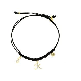 Bransoletka sznurkowa z literką K cyrkonią i koniczynką nr PW 224G czarny próba 925
