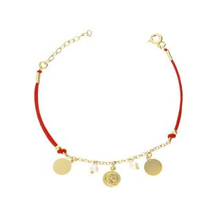 Bransoletka sznurkowa pozłacana z perłą i monetami nr PW 162G czerwony próba 925