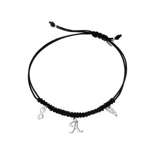 Bransoleta srebrna sznurkowa z wiszącym skrzydłem, znakiem nieskończoności i literką A nr. PW 227 czarny próba 925
