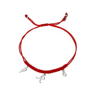 Bransoleta srebrna sznurkowa z wiszącym skrzydłem, łezką i literką A nr. PW 227-1 czerwony próba 925