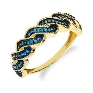 Pierścionek zaręczynowy z niebieskimi brylantami NF JRI-542 BLUE DIAMOND próba 375