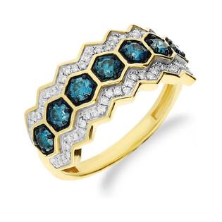 Pierścionek zaręczynowy z niebieskimi brylantami nr NF JRI-543 BLUE DIAMOND LINE mió próba 375