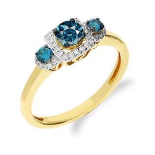 Pierścionek zaręczynowy z niebieskimi diamentami nr NF JRI-560 BLUE DIAMOND x3 próba 375