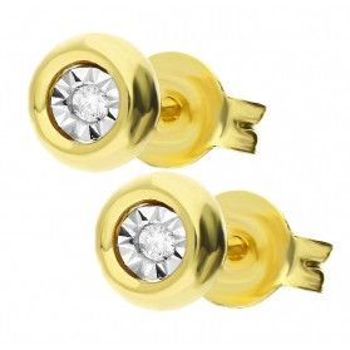 Kolvzyki złote z diamentami na sztyft TB 08945-08953 próba 585
