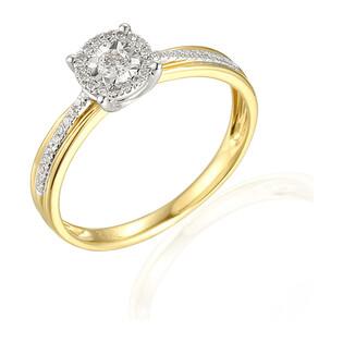 Zaręczynowy pierścionek z diamentami kolekcja Mirage nr AW 55159 YW złoto 14 karat