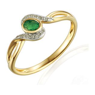 Pierścionek zaręczynowy ze szmaragdem i diamentami nr AW 58015 YW-EM owal twist próba 585 LAUREL