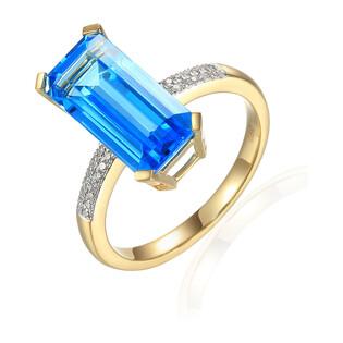Pierścionek zaręczynowy z topazem i diamentami AW 73287 Y prostokąt próba 585