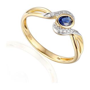 Pierścionek zaręczynowy z szafirem i diamentami nr AW 58015 YW-SA owal twist próba 585 LAUREL