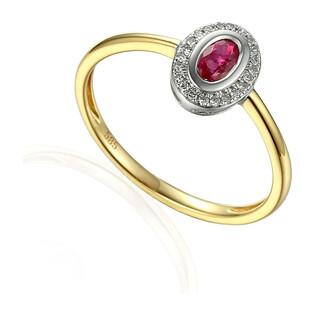 Pierścionek zaręczynowy z rubinem i diamentami AW 46623 YW-RU owal Markiza próba 585 MARKIZA