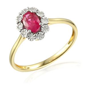 Pierścionek rubin 0,51ct+bryl.0,04ct AW 53447 YW-RU owal Markiza Magi próba 585