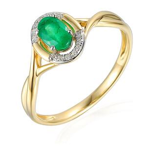 Pierścionek złoty ze szmaragdem i diamentami AW 55256 Y-EM owal ramka próba 585 LAUREL
