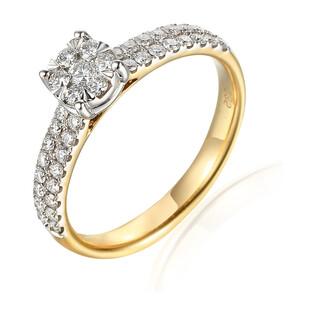 Pierścionek złoty z diamentami AW 62762 YW próba 585