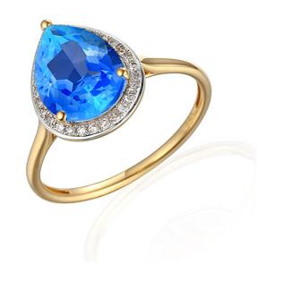 Pierścionek topaz blue 2,92ct+bryl 0,11ct AW 62902 Y-TO łezka próba 585 MARKIZA