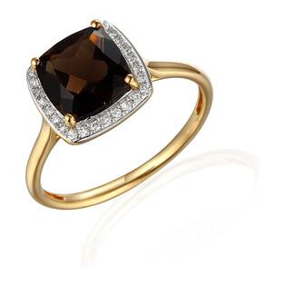 Pierścionek złoty z diamentami i kwarcem dymnym AW 62906 Y-CH kwadrat faseta próba 585
