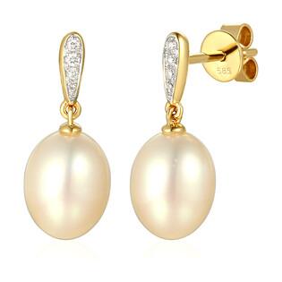 Kolczyki z diamentami i perłami AW 55710 Y perła Line próba 585