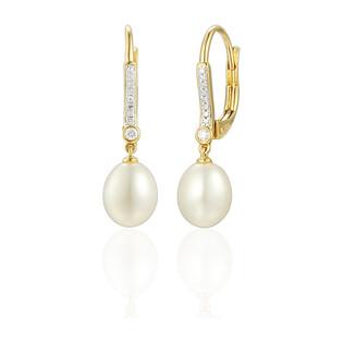 Kolczyki z perła i diamentami na biglu AW 55815 Y perła Line próba 585