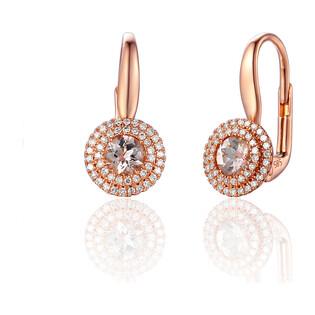 Kolczyki z morganitem i diamentami ze złota na biglu AW 57736 R-MO okr.Markiza 2r próba 585