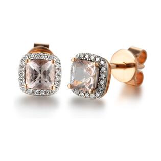 Kolczyki złote z Morganitem i diamentami AW 58266 R kwadrat próba 585