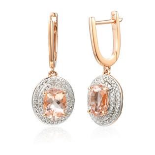 Kolczyki złote z Morganitem i diamentami AW 60405 R owal próba 585