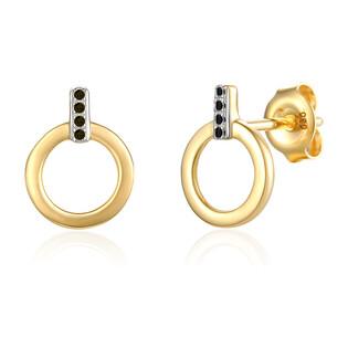 Kolczyki złote z diamentami kółka nr AW 65979 Y-05642 Y BLACK DIAMOND próba 585
