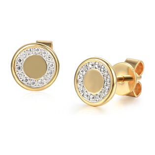 Kolczyki złote kółko z diamentami/sztyft AW 69684 Y-06618 Y próba 585