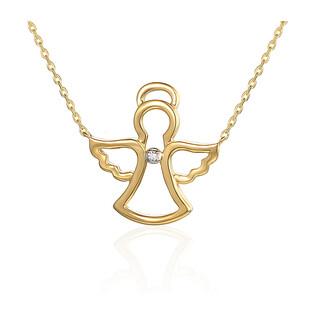 Naszyjnik złoty z diamentami w kształcie aniołka AW 06628 Y próba 585