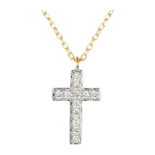 Naszyjnik złoty z diamentami w kształcie krzyża nr AW 08275 Y próba 585