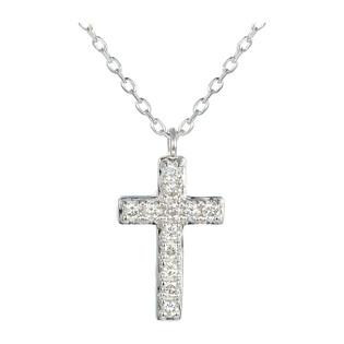 Naszyjnik z białego złota z diamentami w kształcie krzyża 08275 W białe złoto próba 585