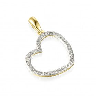 Serduszko złote z diamentami AW 53245 Y bokiem próba 585