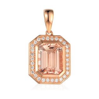 Zawieszka złota z diamentami i morganitem AW 60402 R prostokąt próba 585