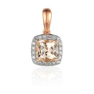 Zawieszka złota z diamentami i morganitemAW 58266 R kwadrat próba 585