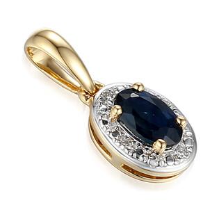 Zawieszka złota z diamentami i szafirem AW 60389 Y-SA owal Markiza próba 585