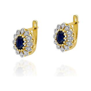 Kolczyki złote z diamentami i szafirem BE W-354 szafir KATE próba 585