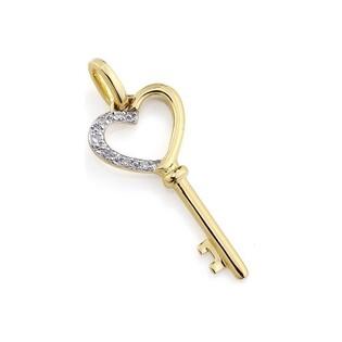 Zawieszka złota kluczyk serce z diamentami nr AW 39901 Y