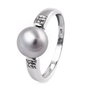 Pierścionek zaręczynowy z perłą i diamentami BU 613068 próba 585