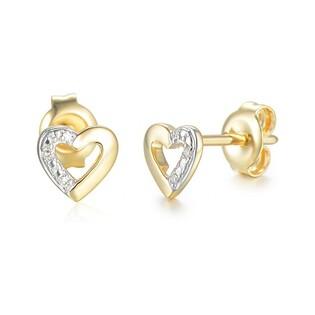 Kolczyki złote serduszka z diamentami nr AW 69371 Y Au 585