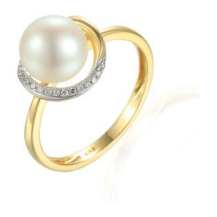 Pierścionek z diamentami i perłą AW 34407 Y próba 585