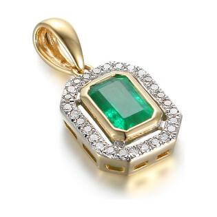 Zawieszka złota z diamentami i szmaragdem AW 36151 Y-EM prostokąt Markiza próba 585