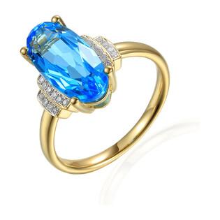 Pierścionek zaręczynowy z diamentami i topazem AW 72914 Y owal próba 585