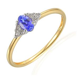 Pierścionek zaręczynowy z diamentami i tanzanitem AW 70386 YW próba 585