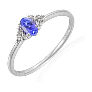 Pierścionek zaręczynowy z diamentami i tanzanitemAW 70386 W białe złoto próba 585