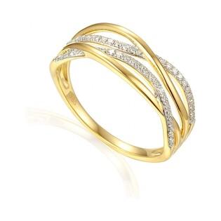 Złoty pierścionek zaręczynowy przeplatany motyw VENEZIA z diamentami AW 56276 Y próba 585