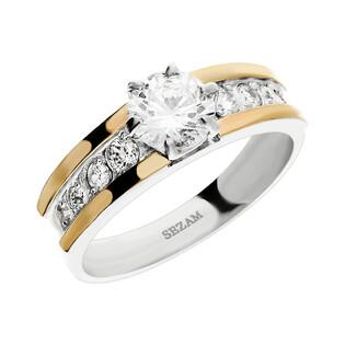 Pierścionek srebrny z dodatkiem różowego złota nr DC 004_AU375 blaszka rose