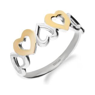 Pierścionek srebrny z dodatkiem różowego złota z sercami nr DC 309_AU375 blaszka rose