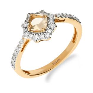 Pierścionek zaręczynowy z różowego złota z morganitem i diamentami nr NF JRI-987-MO ośmiokąt Markiza próba 585