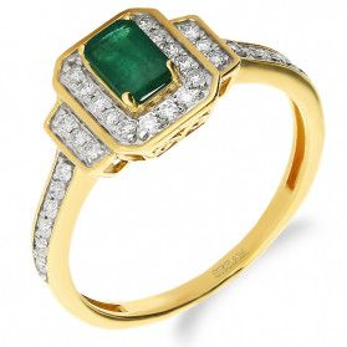 Pierścionek zaręczynowy ze szmaragdem i diamntami nr NF JRI-989 prost.Markiza próba 585
