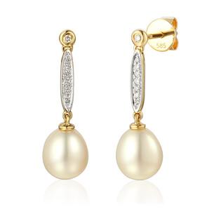 Kolczyki perła+bryl 0,08ct/ dł.sztyft AW 57583 Y Line próba 585